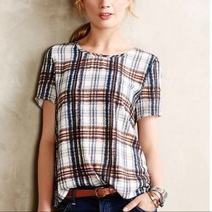 Anthropologie Maeve Plaid Striped Blouse